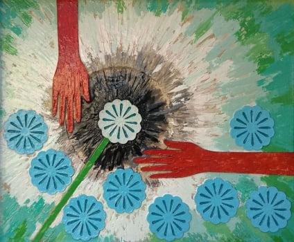 Pintura em resina - A flor - Alberto Farah - Quadro decorativo
