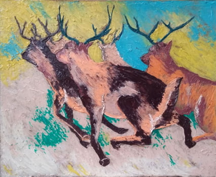 Pintura em resina - A fuga - Alberto Farah - Quadro decorativo