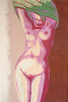 Pintura em resina - Nu despindo-se - Alberto Farah - Quadro decorativo