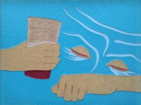Pintura em resina - O beberrão- Alberto Farah - Quadro decorativo
