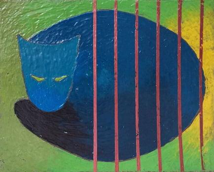 Pintura em resina - O Gato - Alberto Farah - Quadro decorativo