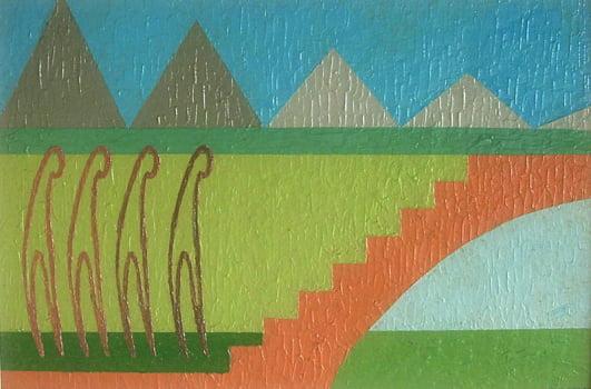 Pintura em resina - Observando o futuro - Alberto Farah - Quadro decorativo